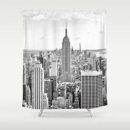 New York City, Manhattan (Black & White) Shower Curtain