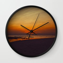 Mid Century Modern Round Circle Photo Graphic Design Orange Sunset Above Beach Wall Clock