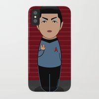 spock iPhone & iPod Cases featuring Kokeshi Spock by Pendientera