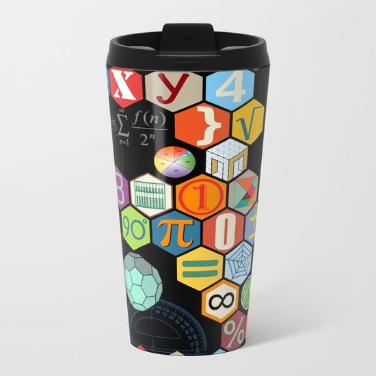Math in color Black B Metal Travel Mug