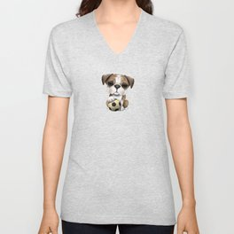 Cute British Bulldog Puppy With Football Soccer Ball Unisex V-Neck