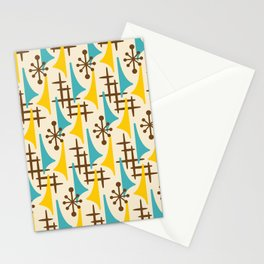Retro Mid Century Modern Atomic Wing Pattern 424 Brown Yellow and Turquoise Stationery Cards