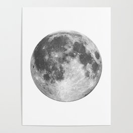 Full Moon phase print black-white monochrome new lunar eclipse poster home bedroom wall decor Poster