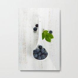 Fresh summer Blueberries on wooden background Metal Print