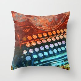 Typewriter Blue Red PopArt Throw Pillow