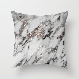 Classic White Marble Silver Glitter Glam #1 (Faux Glitter) #marble #decor #art #society6 Throw Pillow