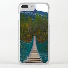 Suspension Bridge along the Berg Lake Trail in British Columbia, Canada Clear iPhone Case