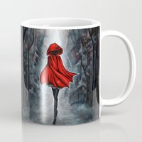 red hood Mugs featuring Little Red Riding Hood by Annya Kai