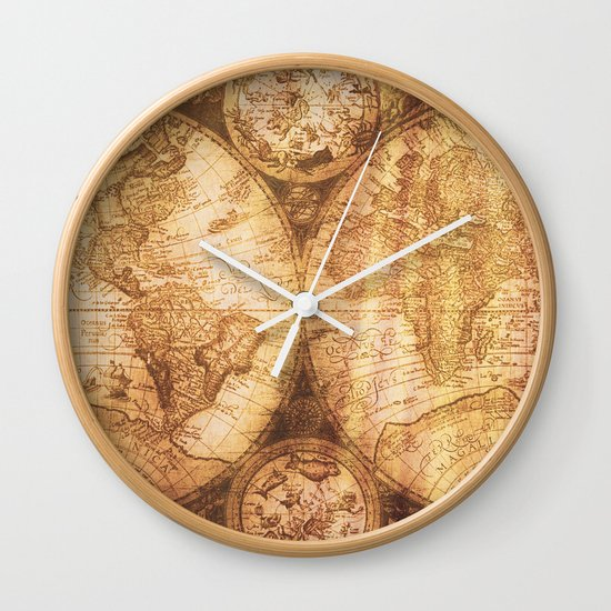 antique world map on wood wall clock by mapmaker society6