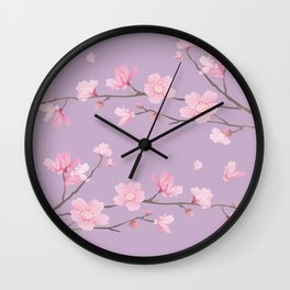 Cherry Blossom - Pale Purple Wall Clock
