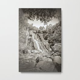 Majestic waterfall in french forest sepia toned high contrast Metal Print