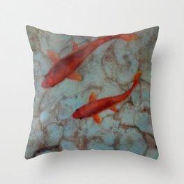 Koi in Turquoise Pond Throw Pillow