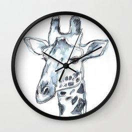 Giraffe, watercolor portrait Wall Clock