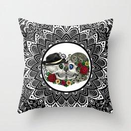 Mandala Kissing Skulls Throw Pillow