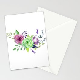 Posy GREEN AND VIOLET Painted - bouquet, nosegay, flower Stationery Cards