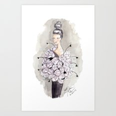 Flower and feather Retro Fashion Watercolor Illustration Art Print