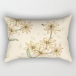 Retro Watercolor Autumn Leaves Pattern Rectangular Pillow