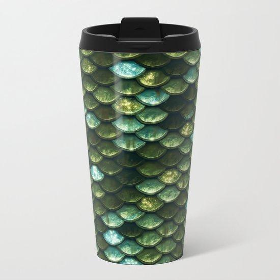 Aqua and green sparkling mermaid glitter scales- Mermaidscales Metal Travel Mug
