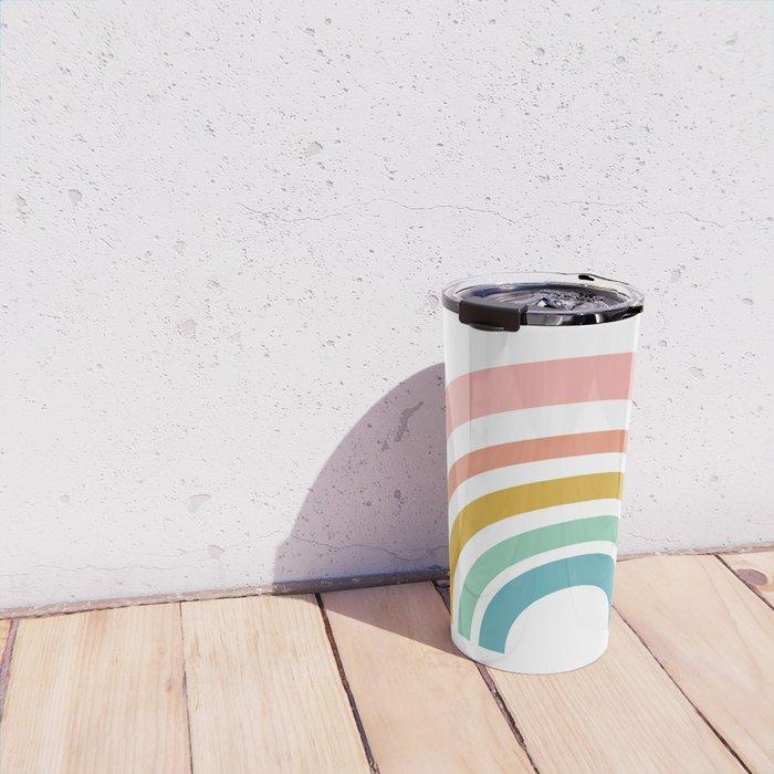 Simple Happy Rainbow Art Travel Mug