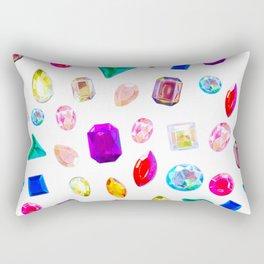 Rhinestone Reverie in White Rectangular Pillow