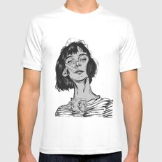 Woman in stripped shirt Mens Fitted Tee White MEDIUM