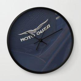 Moto Guzzi photo, helmet & motorbike, café racer, scrambler, bokeh, man cave stuff, motorcycle Wall Clock