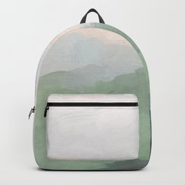 Seafoam Green Mint Black Blush Pink III Abstract Nature Land Art Painting Art Backpack