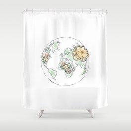 World Map Pink #globe #2 Shower Curtain