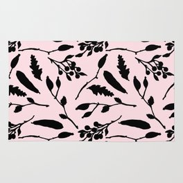 Hand painted black blush pink abstract floral Rug