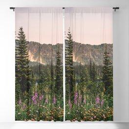 Mount Rainier Wildflower Adventure VII - Pacific Northwest Mountain Forest Wanderlust Blackout Curtain