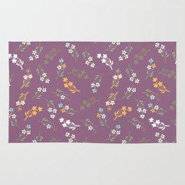 Tossed Wildflowers in Purple Rug