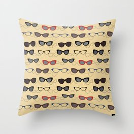 1950's Specs on Sunbeam Yellow Throw Pillow