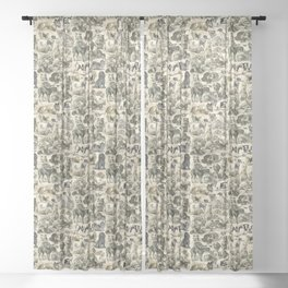 KENNEL - OVER 20 DOG BREEDS COLLAGE Sheer Curtain