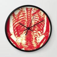 nicolas cage Wall Clocks featuring Rib Cage  by troymac1892