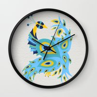 peacock Wall Clocks featuring Peacock by Cat Coquillette