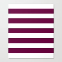 Tyrian purple - solid color - white stripes pattern Canvas Print