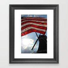 Flag over Windmill Framed Art Print