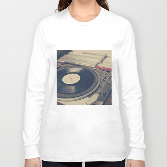 Vintage Turntable and Records  Long Sleeve T-shirt