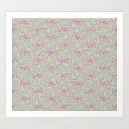 Soft Vintage Floral Tapestry Art Print