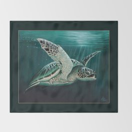 """Moonlit"" by Amber Marine - Sea Turtle, Acrylic Painting, (Copyright 2015) Throw Blanket"