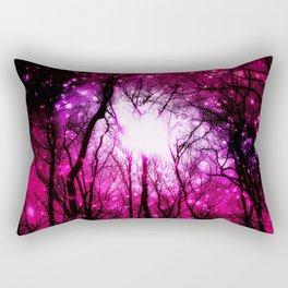 Pink Fuchsia Space Black Trees Rectangular Pillow