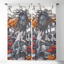Reggae Singer Rasta Graffiti Party Club - Graffiti Art Print  Blackout Curtain