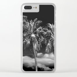 Palm Trees in Black and White on Cabrillo Beach Clear iPhone Case