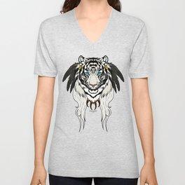 Tribal Tiger - White Unisex V-Neck