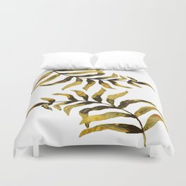 Gold Exotic Palm Leaves - Tropical Design Duvet Cover