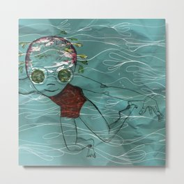 Blue Swimmer no. 8 Metal Print