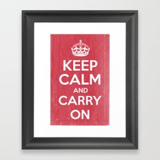 Keep Calm and Carry On - Red Book Framed Art Print