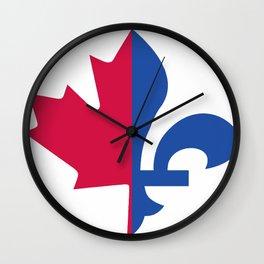 Fleur de lis / Maple leaf Wall Clock