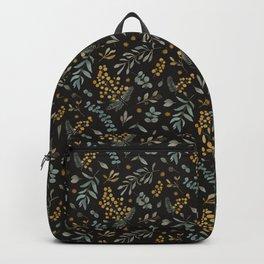 Australian native wattle eucalyptus watercolor floral black Backpack