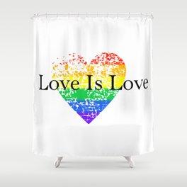 Love Is Love Rainbow Pride Heart 6 Shower Curtain